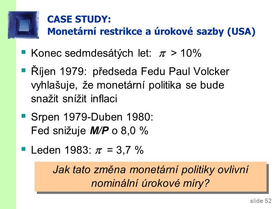slide 52 CASE STUDY: Monetární restrikce a úrokové sazby (USA)  Konec sedmdesátých let:  > 10%  Říjen 1979: předseda Fedu Paul Volcker vyhlašuje, že monetární politika se bude snažit snížit inflaci  Srpen 1979-Duben 1980: Fed snižuje M/P o 8,0 %  Leden 1983:  = 3,7 % Jak tato změna monetární politiky ovlivní nominální úrokové míry