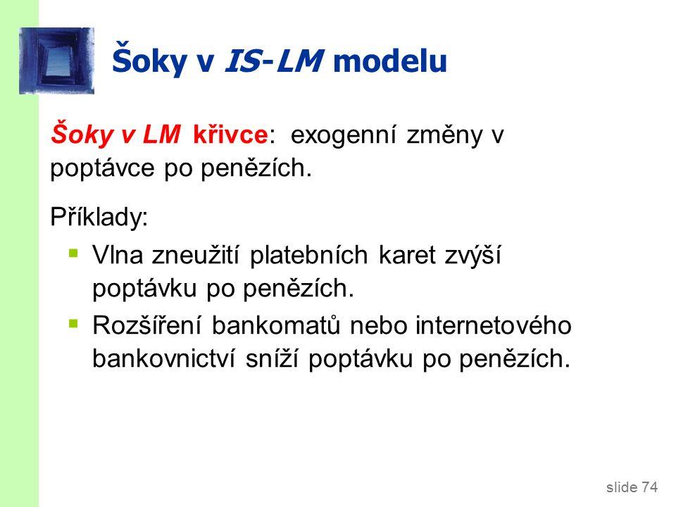 slide 74 Šoky v IS -LM modelu Šoky v LM křivce: exogenní změny v poptávce po penězích.