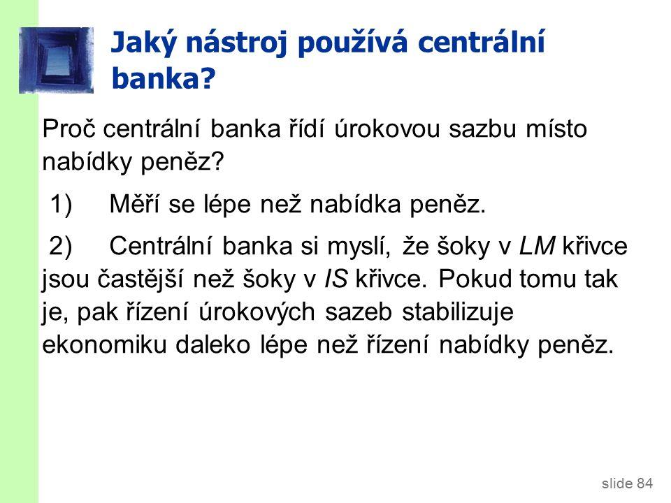 slide 84 Proč centrální banka řídí úrokovou sazbu místo nabídky peněz.