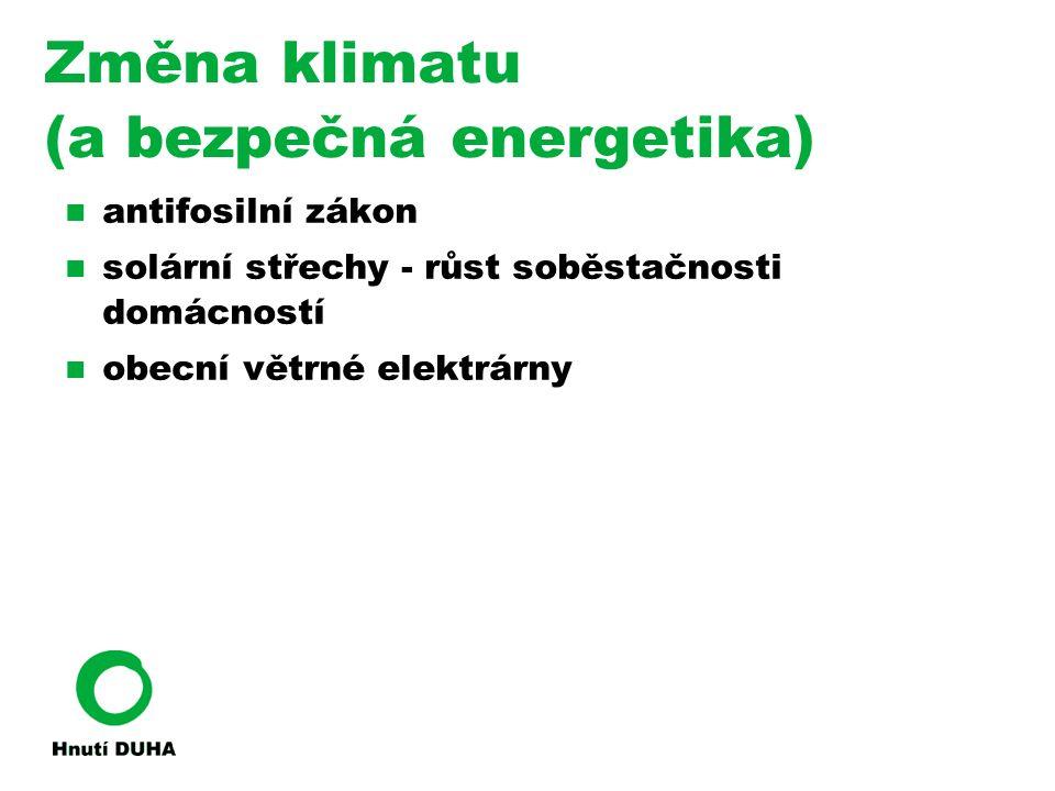 Změna klimatu (a bezpečná energetika) antifosilní zákon solární střechy - růst soběstačnosti domácností obecní větrné elektrárny