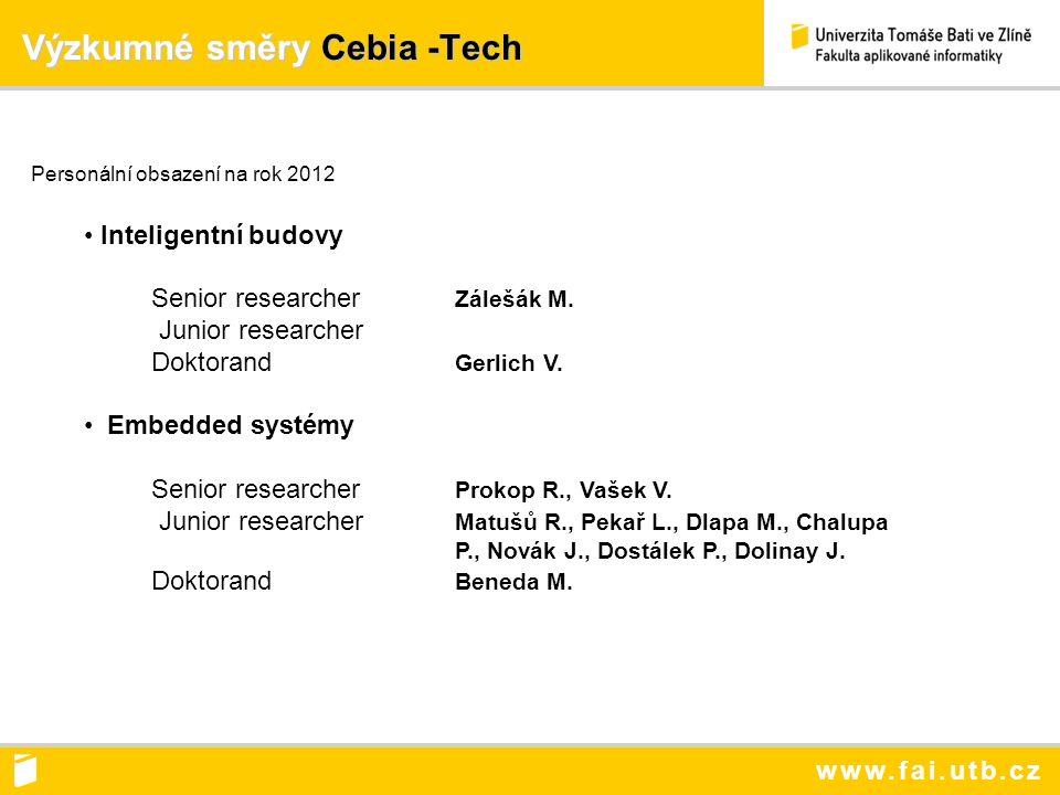 www.fai.utb.cz Výzkumné směry Cebia -Tech Výzkumné směry Cebia -Tech Personální obsazení na rok 2012 Inteligentní budovy Senior researcher Zálešák M.