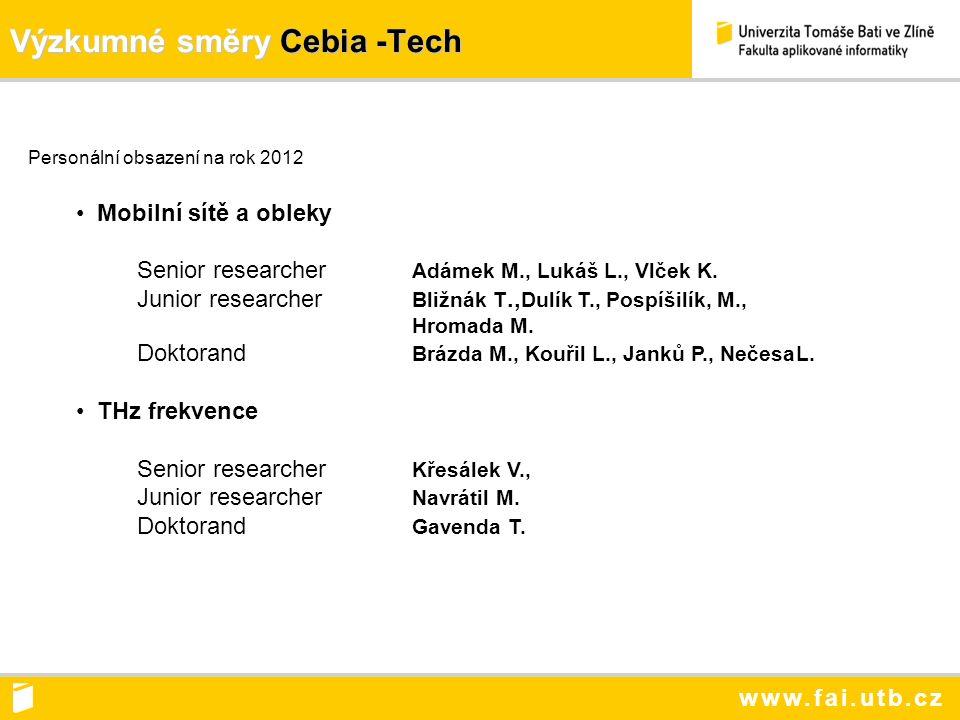 www.fai.utb.cz Výzkumné směry Cebia -Tech Personální obsazení na rok 2012 Mobilní sítě a obleky Senior researcher Adámek M., Lukáš L., Vlček K.