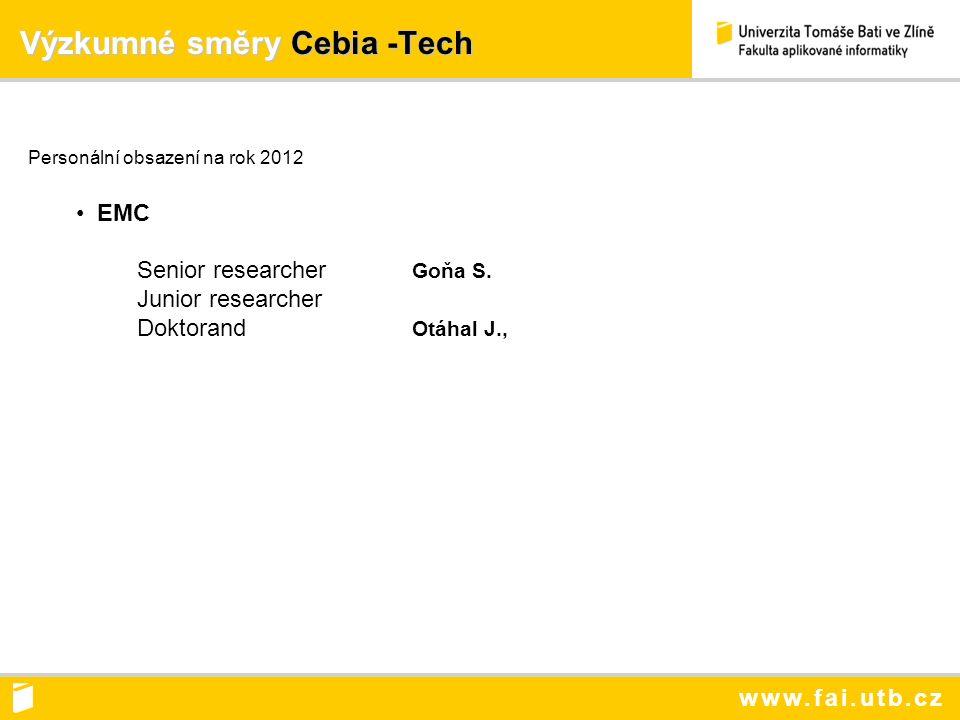 www.fai.utb.cz Výzkumné směry Cebia -Tech Výzkumné směry Cebia -Tech Personální obsazení na rok 2012 EMC Senior researcher Goňa S.