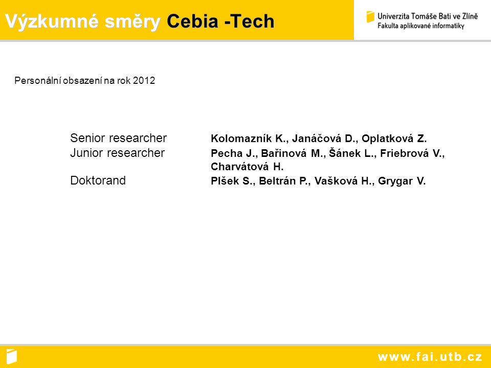www.fai.utb.cz Výzkumné směry Cebia -Tech Personální obsazení na rok 2012 Senior researcher Kolomazník K., Janáčová D., Oplatková Z.