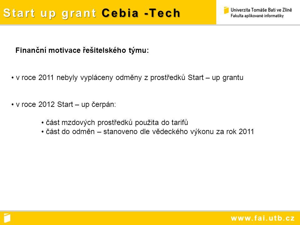 www.fai.utb.cz Start up grant Cebia -Tech Finanční motivace řešitelského týmu: v roce 2011 nebyly vypláceny odměny z prostředků Start – up grantu v roce 2012 Start – up čerpán: část mzdových prostředků použita do tarifů část do odměn – stanoveno dle vědeckého výkonu za rok 2011
