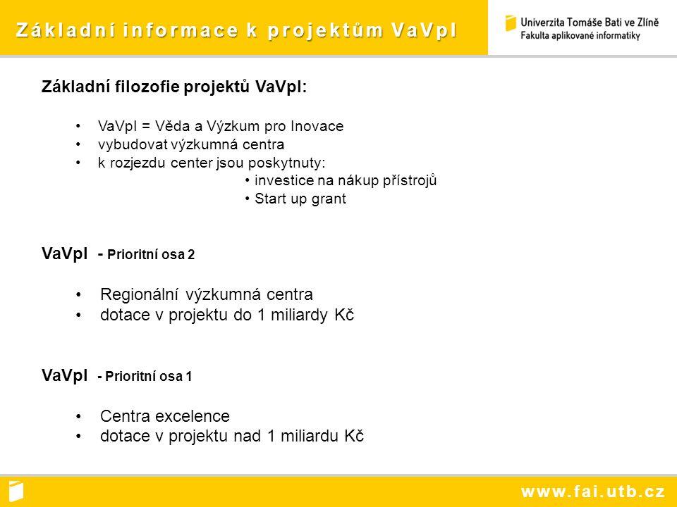 www.fai.utb.cz Základní informace k projektům VaVpI Základní informace k projektům VaVpI Základní filozofie projektů VaVpI: VaVpI = Věda a Výzkum pro Inovace vybudovat výzkumná centra k rozjezdu center jsou poskytnuty: investice na nákup přístrojů Start up grant VaVpI - Prioritní osa 2 Regionální výzkumná centra dotace v projektu do 1 miliardy Kč VaVpI - Prioritní osa 1 Centra excelence dotace v projektu nad 1 miliardu Kč