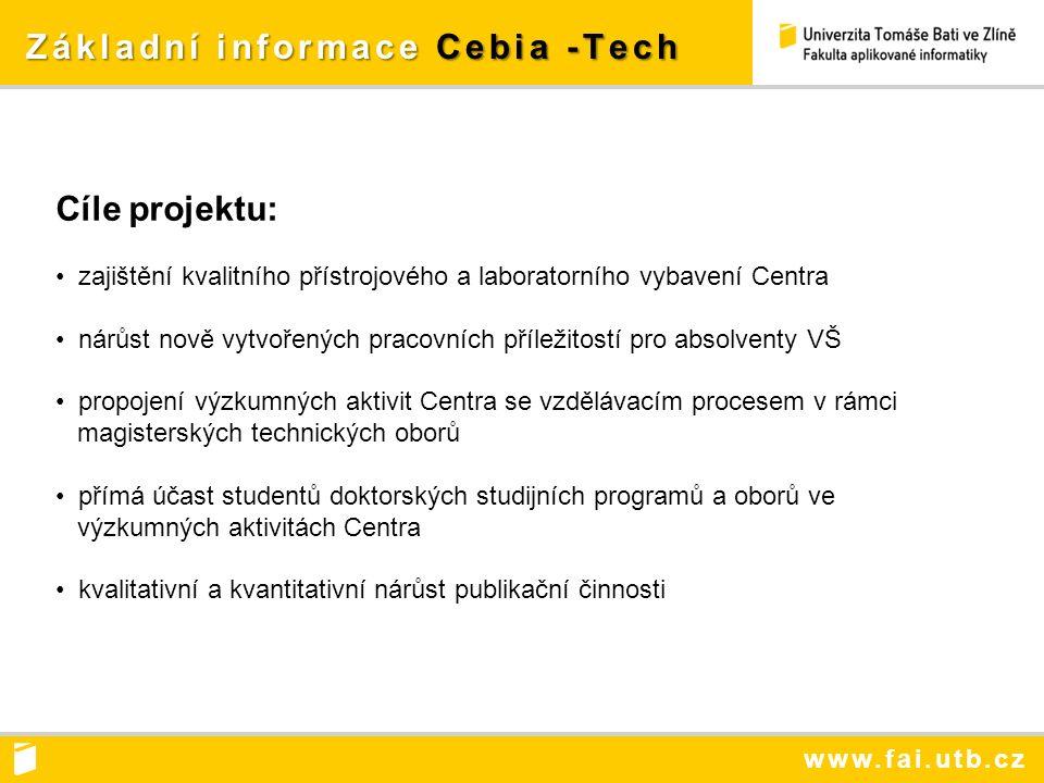 www.fai.utb.cz Výzkumné směry Cebia -Tech Výzkumné směry Cebia -Tech Výzkumné programy Centra: VP1 - Aplikace inženýrské informatiky VP2 - Bezpečnostní výzkum VP3 - Alternativní zdroje energie