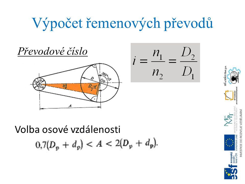 Výpočet řemenových převodů Převodové číslo Volba osové vzdálenosti
