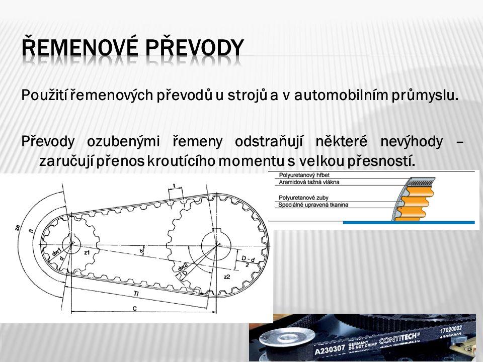 Použití řemenových převodů u strojů a v automobilním průmyslu.