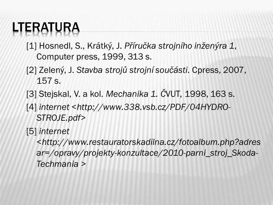 [1] Hosnedl, S., Krátký, J. Příručka strojního inženýra 1, Computer press, 1999, 313 s.