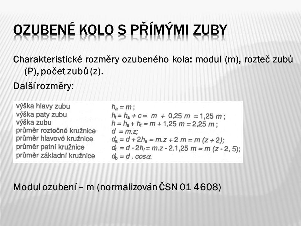Charakteristické rozměry ozubeného kola: modul (m), rozteč zubů (P), počet zubů (z). Další rozměry: Modul ozubení – m (normalizován ČSN 01 4608)