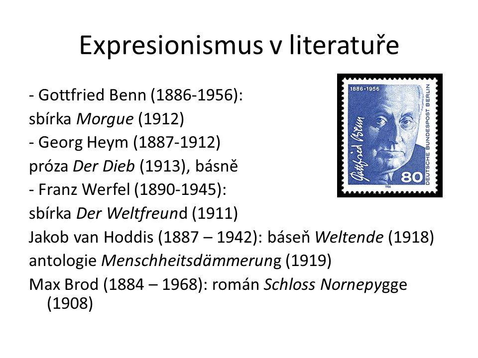 Expresionismus v literatuře - Gottfried Benn (1886-1956): sbírka Morgue (1912) - Georg Heym (1887-1912) próza Der Dieb (1913), básně - Franz Werfel (1890-1945): sbírka Der Weltfreund (1911) Jakob van Hoddis (1887 – 1942): báseň Weltende (1918) antologie Menschheitsdämmerung (1919) Max Brod (1884 – 1968): román Schloss Nornepygge (1908)