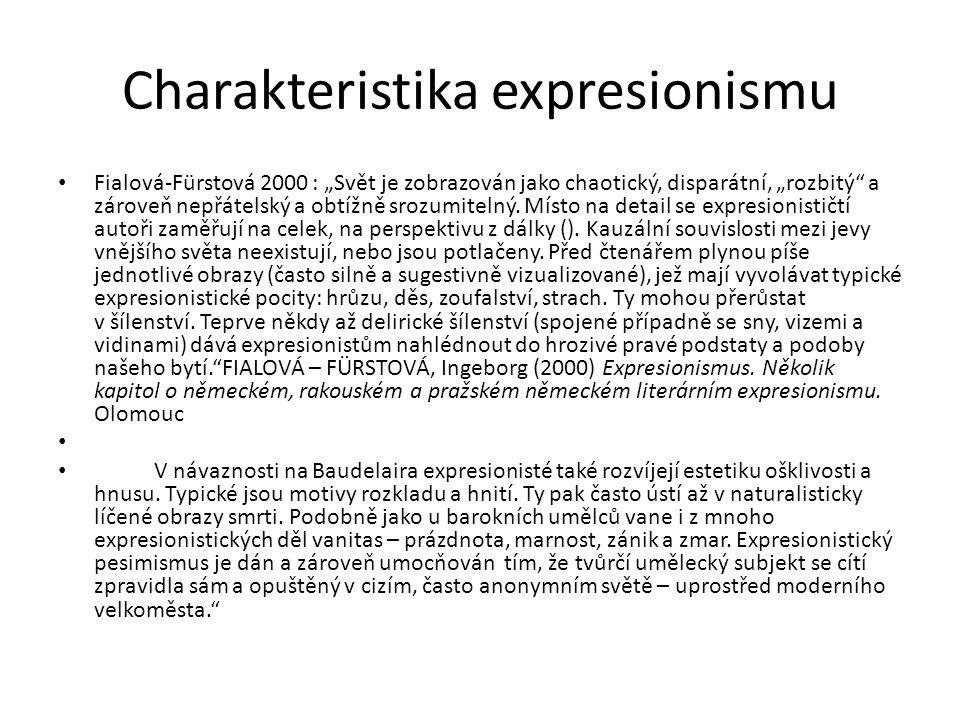 """Charakteristika expresionismu Fialová-Fürstová 2000 : """"Svět je zobrazován jako chaotický, disparátní, """"rozbitý a zároveň nepřátelský a obtížně srozumitelný."""