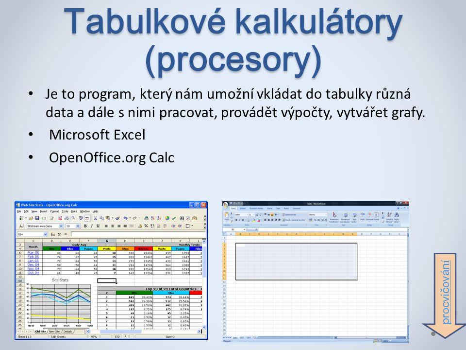 Tabulkové kalkulátory (procesory) Je to program, který nám umožní vkládat do tabulky různá data a dále s nimi pracovat, provádět výpočty, vytvářet grafy.