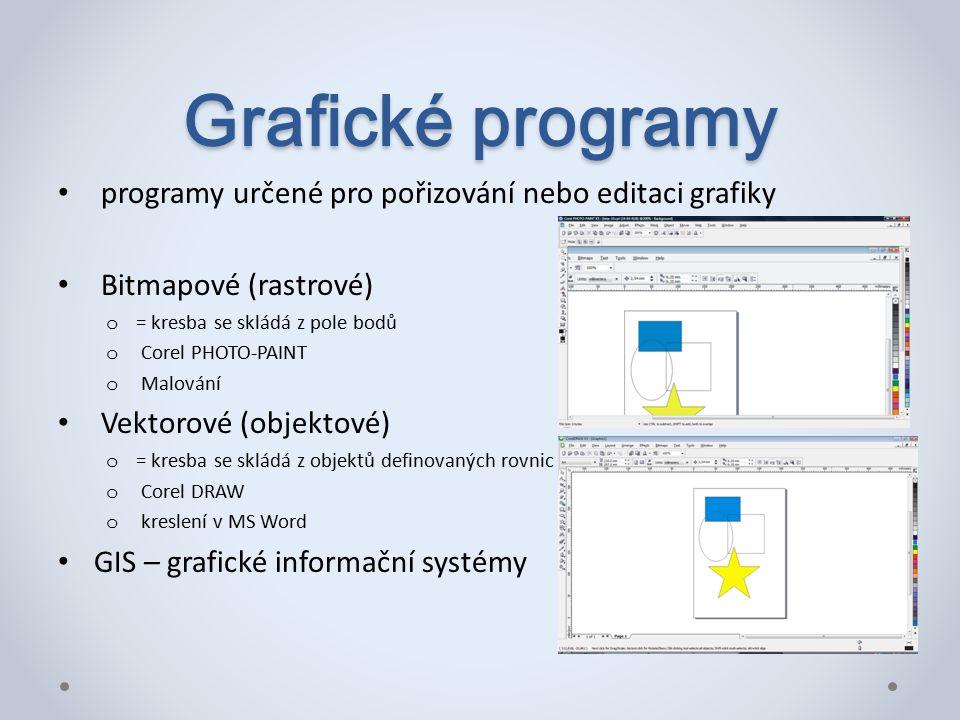 Grafické programy programy určené pro pořizování nebo editaci grafiky Bitmapové (rastrové) o = kresba se skládá z pole bodů o Corel PHOTO-PAINT o Malování Vektorové (objektové) o = kresba se skládá z objektů definovaných rovnic o Corel DRAW o kreslení v MS Word GIS – grafické informační systémy