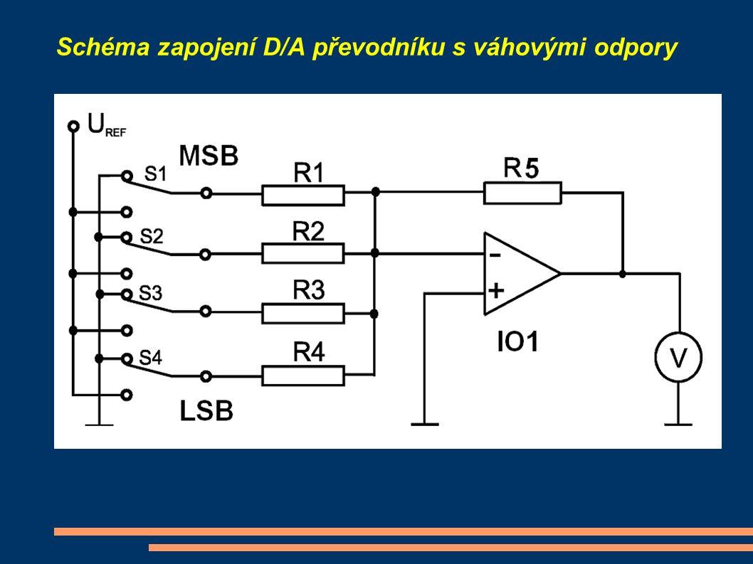 Schéma zapojení D/A převodníku s váhovými odpory