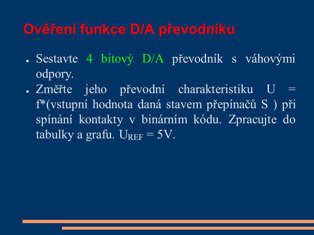 Ověření funkce D/A převodníku ● Sestavte 4 bitový D/A převodník s váhovými odpory. ● Změřte jeho převodní charakteristiku U = f*(vstupní hodnota daná