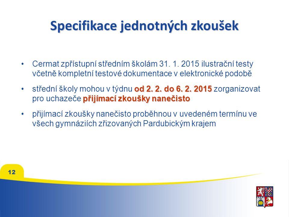 Specifikace jednotných zkoušek Cermat zpřístupní středním školám 31.