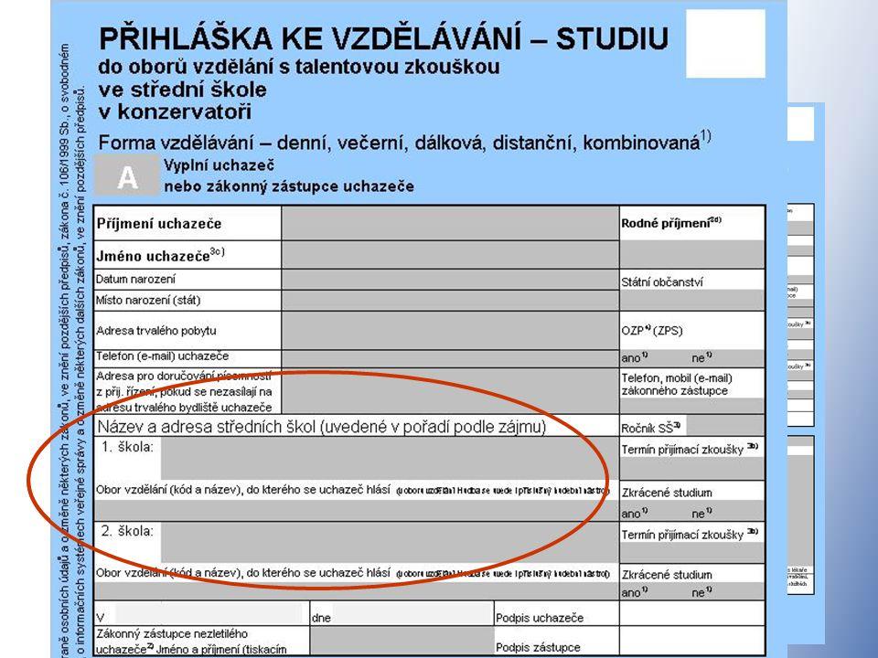 Nové formuláře přihlášek ke studiu