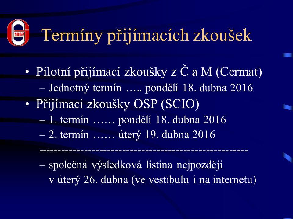 Termíny přijímacích zkoušek Pilotní přijímací zkoušky z Č a M (Cermat) –Jednotný termín …..