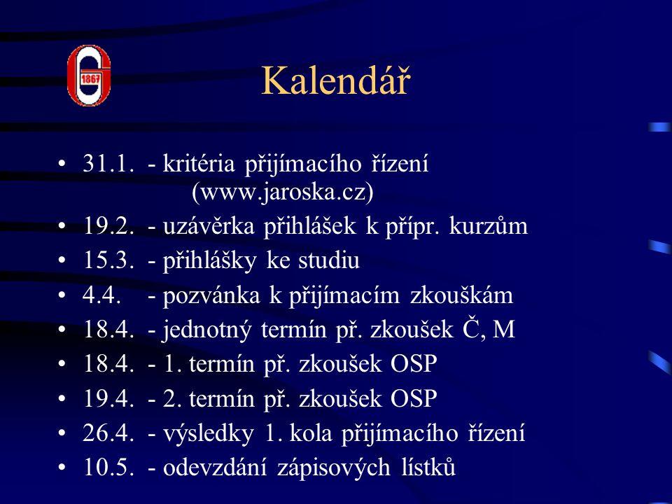 Kalendář 31.1.- kritéria přijímacího řízení (www.jaroska.cz) 19.2.
