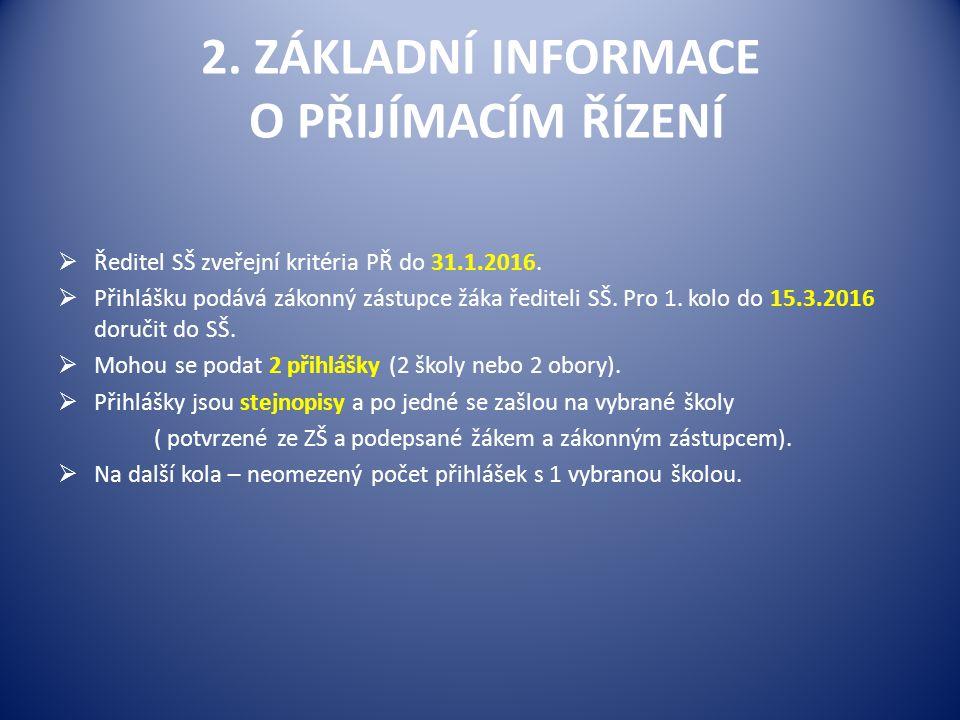 2. ZÁKLADNÍ INFORMACE O PŘIJÍMACÍM ŘÍZENÍ  Ředitel SŠ zveřejní kritéria PŘ do 31.1.2016.