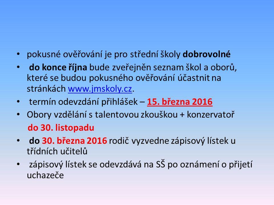 pokusné ověřování je pro střední školy dobrovolné do konce října bude zveřejněn seznam škol a oborů, které se budou pokusného ověřování účastnit na stránkách www.jmskoly.cz.www.jmskoly.cz termín odevzdání přihlášek – 15.