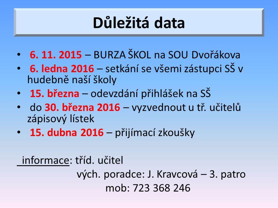 Důležitá data 6. 11. 2015 – BURZA ŠKOL na SOU Dvořákova 6.