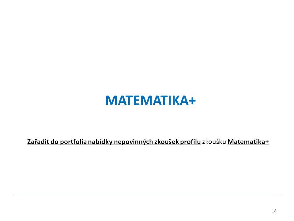 18 MATEMATIKA+ Zařadit do portfolia nabídky nepovinných zkoušek profilu zkoušku Matematika+