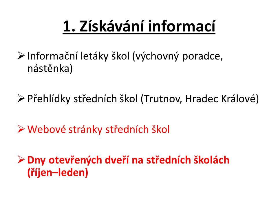 1. Získávání informací  Informační letáky škol (výchovný poradce, nástěnka)  Přehlídky středních škol (Trutnov, Hradec Králové)  Webové stránky stř