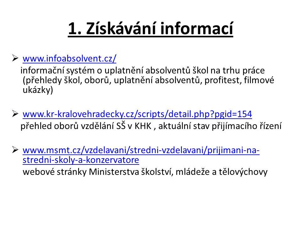 1. Získávání informací  www.infoabsolvent.cz/ www.infoabsolvent.cz/ informační systém o uplatnění absolventů škol na trhu práce (přehledy škol, oborů