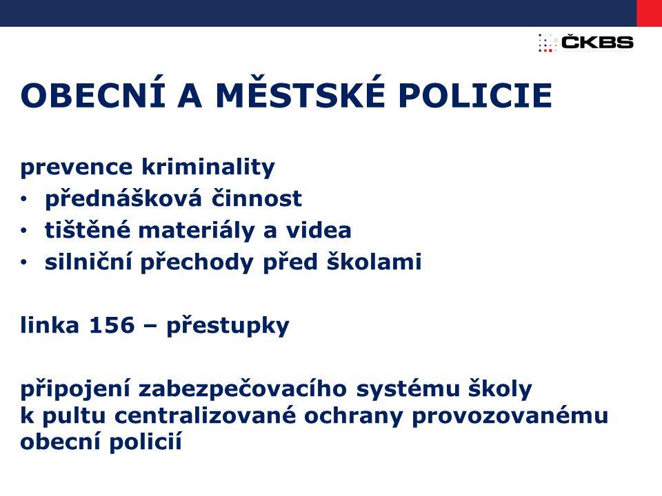 OBECNÍ A MĚSTSKÉ POLICIE prevence kriminality přednášková činnost tištěné materiály a videa silniční přechody před školami linka 156 – přestupky připo