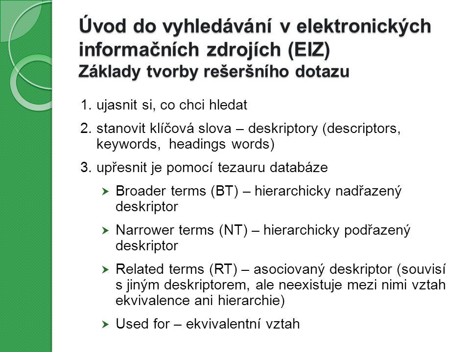 Úvod do vyhledávání v elektronických informačních zdrojích (EIZ) Základy tvorby rešeršního dotazu 1.