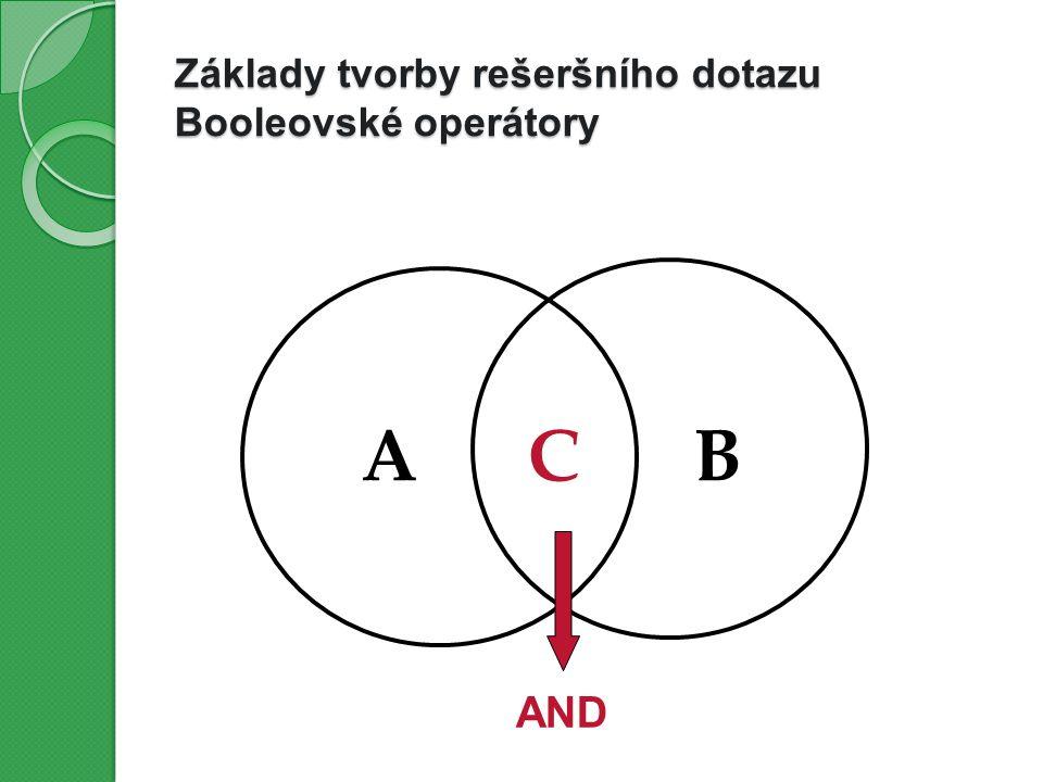 Základy tvorby rešeršního dotazu Booleovské operátory ABC AND