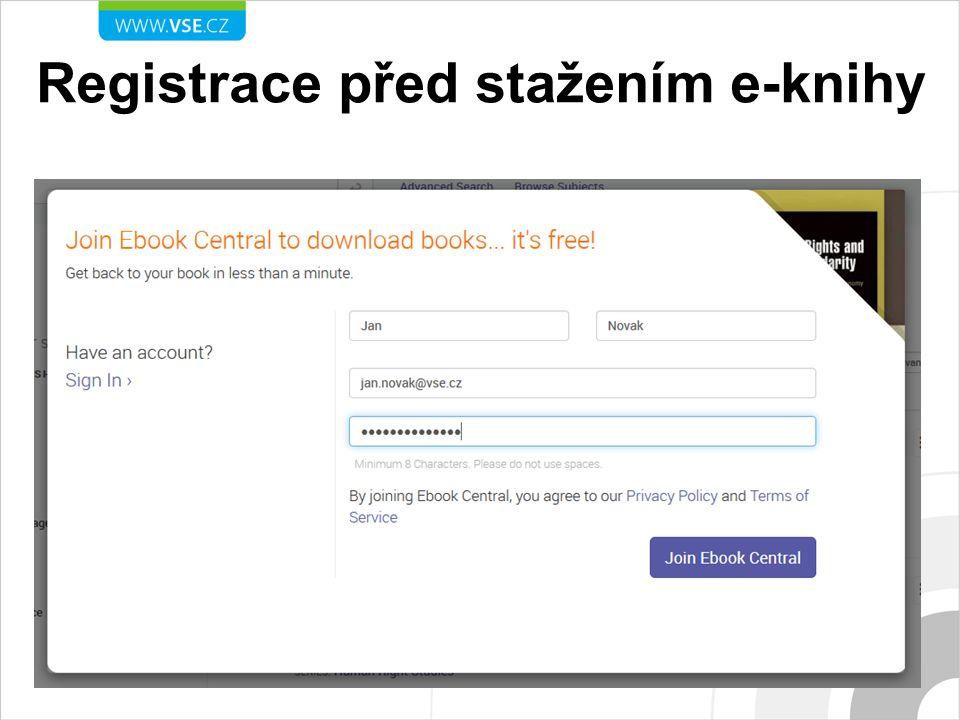 Registrace před stažením e-knihy