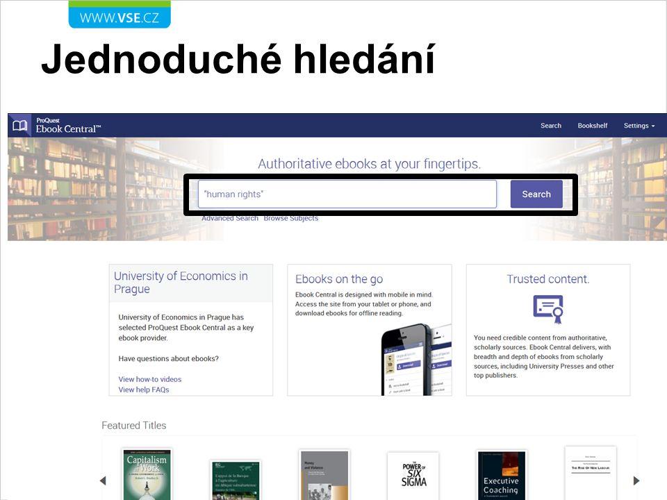 Výsledky hledání – celé knihy celé knihy kliknutím na název nebo obálku knihy se zobrazí detailní záznam knihy