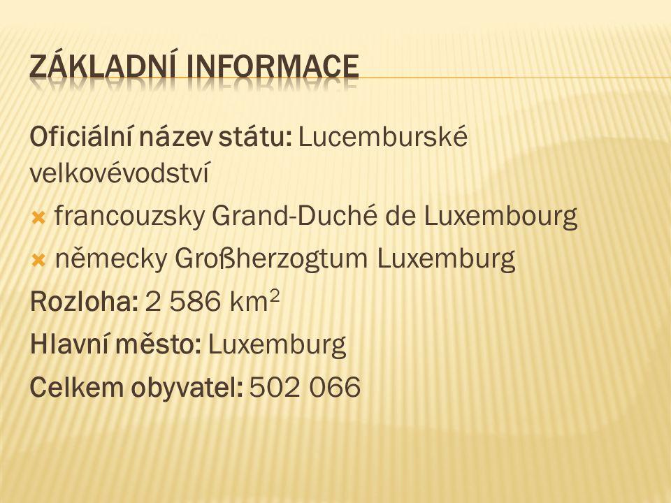 Oficiální název státu: Lucemburské velkovévodství  francouzsky Grand-Duché de Luxembourg  německy Großherzogtum Luxemburg Rozloha: 2 586 km 2 Hlavní město: Luxemburg Celkem obyvatel: 502 066