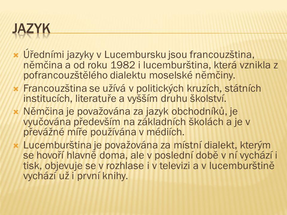  Úředními jazyky v Lucembursku jsou francouzština, němčina a od roku 1982 i lucemburština, která vznikla z pofrancouzštělého dialektu moselské němčiny.