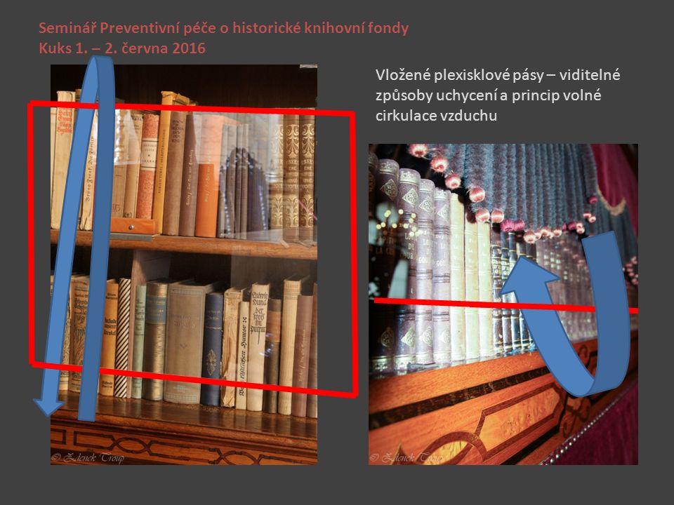 Seminář Preventivní péče o historické knihovní fondy Kuks 1. – 2. června 2016 Vložené plexisklové pásy – viditelné způsoby uchycení a princip volné ci