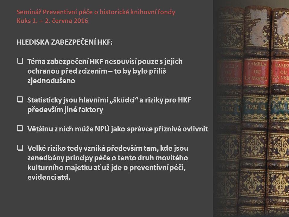 Seminář Preventivní péče o historické knihovní fondy Kuks 1. – 2. června 2016 HLEDISKA ZABEZPEČENÍ HKF:  Téma zabezpečení HKF nesouvisí pouze s jejic