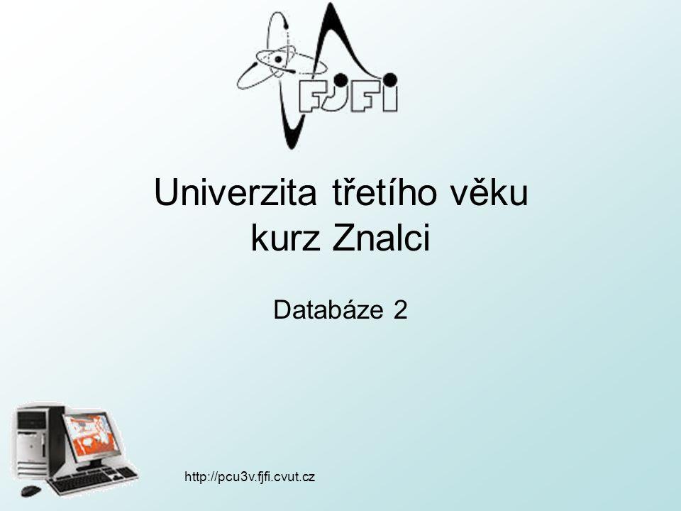 http://pcu3v.fjfi.cvut.cz Dnešní přednáška tvorba relací (vztahů) mezi tabulkami tvorba dotazů v databázi sestava – výpis databáze