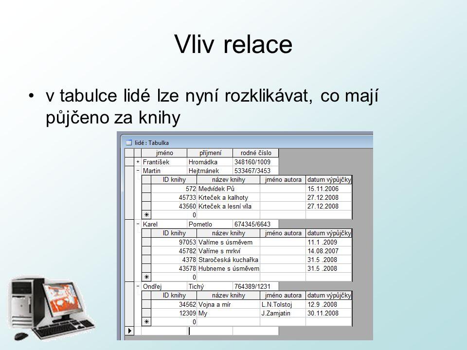 http://pcu3v.fjfi.cvut.cz Vliv relace v tabulce lidé lze nyní rozklikávat, co mají půjčeno za knihy