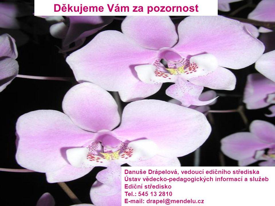 Děkujeme Vám za pozornost Danuše Drápelová, vedoucí edičního střediska Ústav vědecko-pedagogických informací a služeb Ediční středisko Tel.: 545 13 2810 E-mail: drapel@mendelu.cz