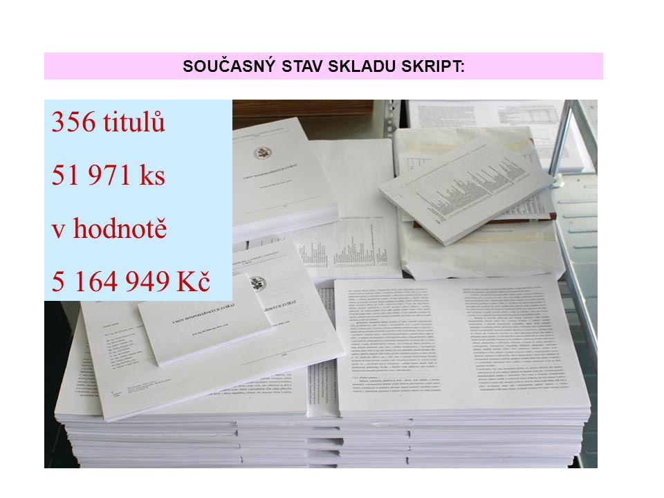 356 titulů 51 971 ks v hodnotě 5 164 949 Kč SOUČASNÝ STAV SKLADU SKRIPT: