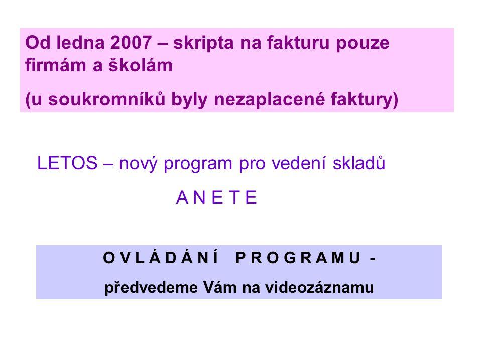 Od ledna 2007 – skripta na fakturu pouze firmám a školám (u soukromníků byly nezaplacené faktury) LETOS – nový program pro vedení skladů A N E T E O V L Á D Á N Í P R O G R A M U - předvedeme Vám na videozáznamu