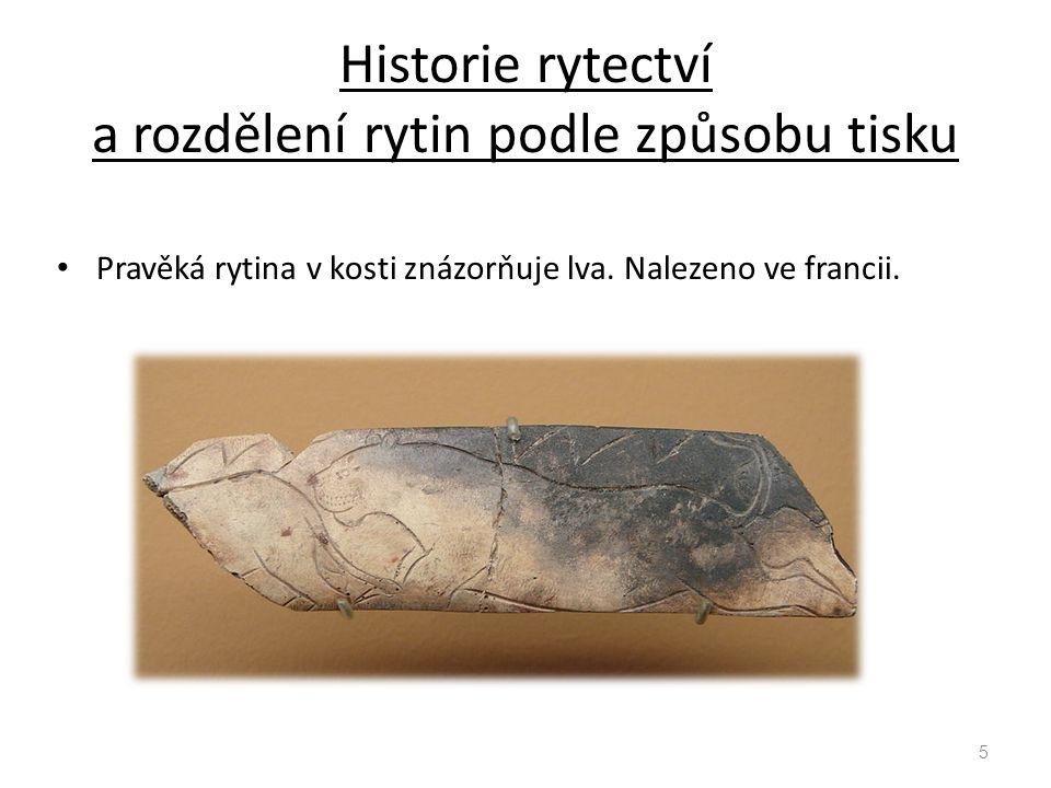 Historie rytectví a rozdělení rytin podle způsobu tisku Pravěká rytina v kosti znázorňuje lva. Nalezeno ve francii. 5