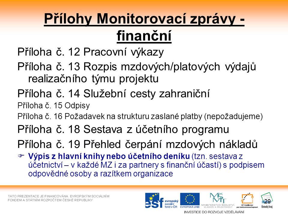 29 Přílohy Monitorovací zprávy - finanční Příloha č. 12 Pracovní výkazy Příloha č. 13 Rozpis mzdových/platových výdajů realizačního týmu projektu Příl
