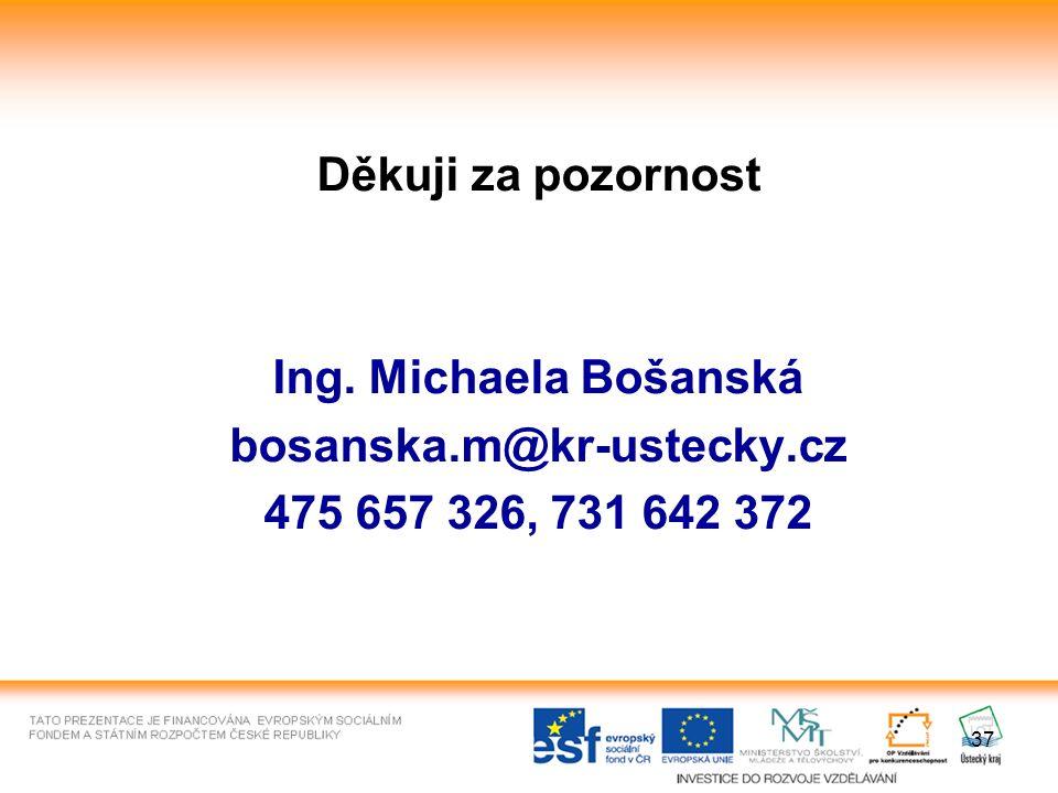 37 Děkuji za pozornost Ing. Michaela Bošanská bosanska.m@kr-ustecky.cz 475 657 326, 731 642 372