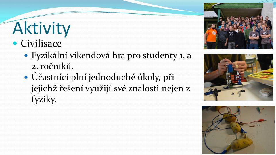 Aktivity Civilisace Fyzikální víkendová hra pro studenty 1. a 2. ročníků. Účastníci plní jednoduché úkoly, při jejichž řešení využijí své znalosti nej