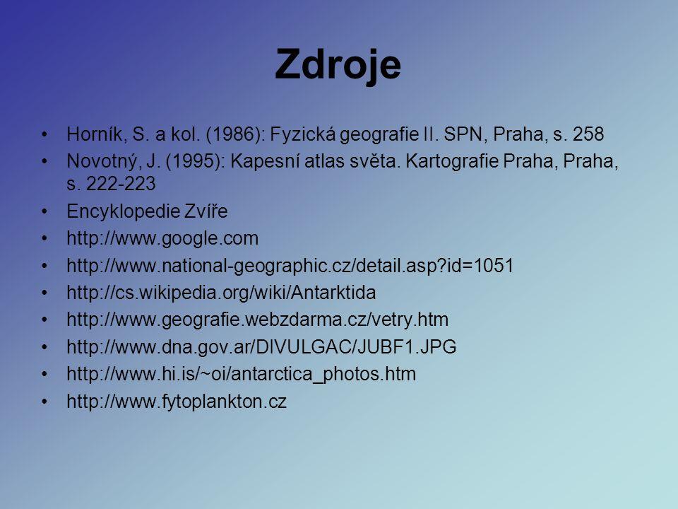 Zdroje Horník, S. a kol. (1986): Fyzická geografie II.